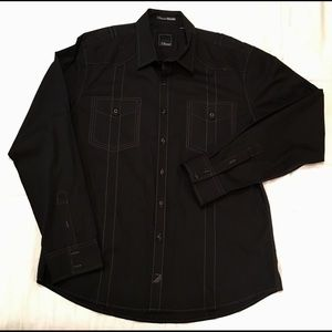 7 Diamonds Long Sleeve Black Shirt XL